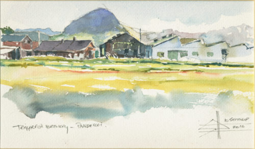 watercolour of a building